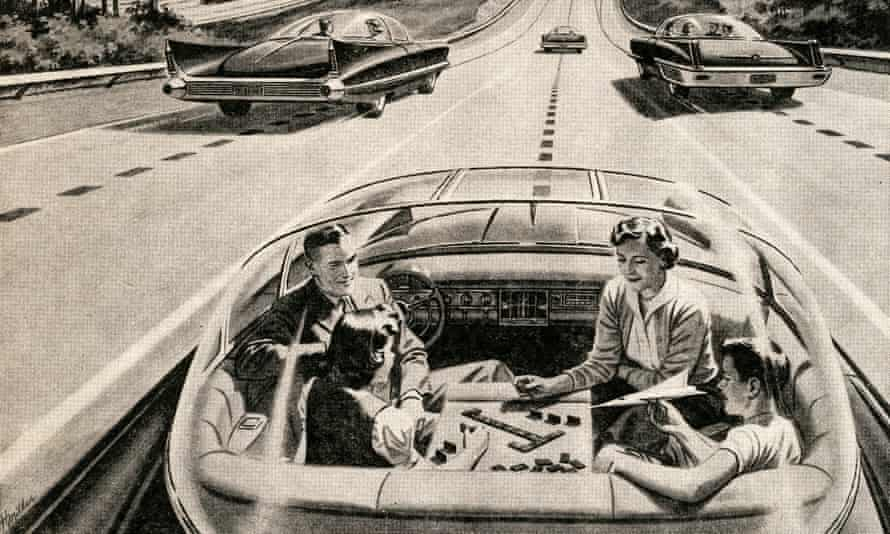 A 1950s illustration depicting a utopian world of driverless cars
