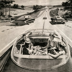 Vision of the future … a family plays a board game in their self-drive electric car in a 1957 illustration.