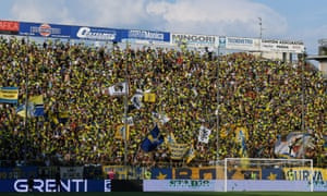 Parma's ultra football fans in their customary position behind the goal