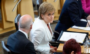 Nicola Sturgeon at first minister's questions in the Scottish Parliament today.