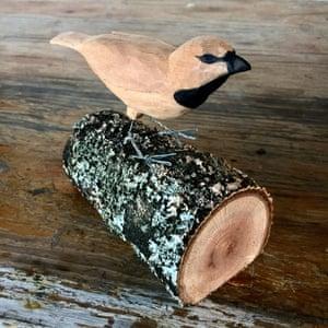 a wooden sculpture of a finch