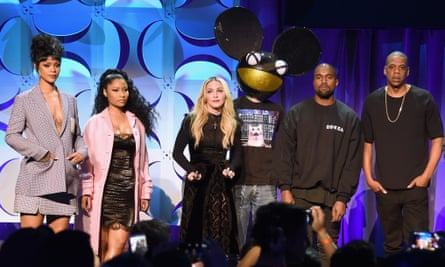 Rihanna, Nicki Minaj, Madonna, Deadmau5, Kanye West, Jay Z on stage at the Tidal launch event in March 2015.