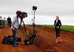 Tasmania, Australia: Journalists wait for the arrival of Scott Morrison, Australia's prime minister, at a vegetable farm in Devonport
