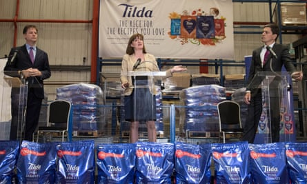 From left: Sir Nick Clegg, Nicky Morgan and David Miliband speaking at a cross-party intervention on Brexit negotiations at Tilda Rice Mill in Rainham, Essex.