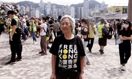 A pro-democracy protester on Sunday.