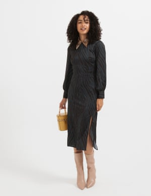 model wears dress, £65, warehouse.co.uk. Shirt (just seen), from a selection, by Nanushka, from net-a-porter.com. Boots, £85, office.co.uk. Bag, £25, topshop.com.
