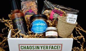 A box of spicy products from Lick My Dip.