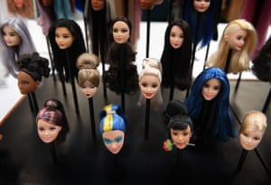 A collection of Barbie heads