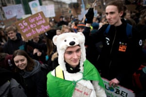 A climate activist wears an bear outfit at the Fridays for Future demonstration in Berlin, Germany