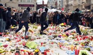 Hooligans trample on memorial