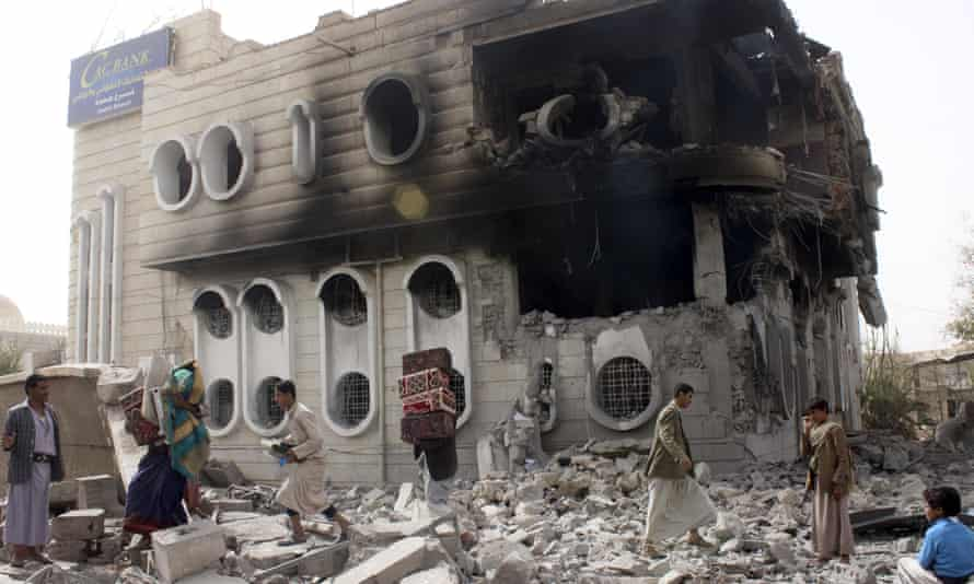 A damaged building in Sana'a, Yemen, which has been the subject of a Saudi bombing campaign.