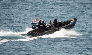 A Royal Marines vessel near Gibraltar