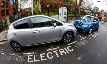 Electric cars charging on a London street