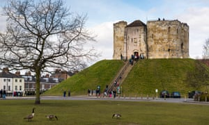 Exterior landscape view of Clifford's Tower, York.