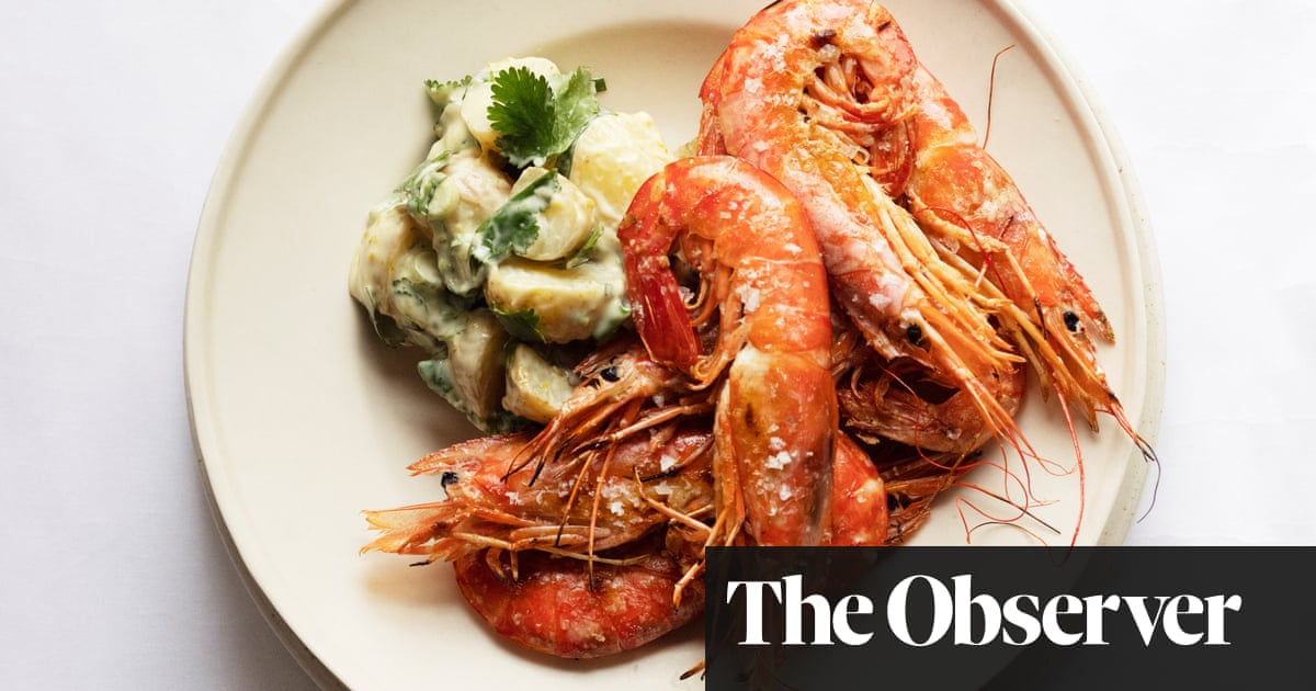 Nigel Slater's recipe for herbed potato salad, grilled prawns