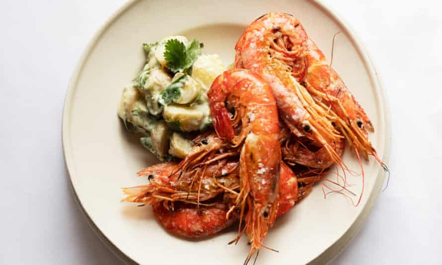 'Much will depend on the heat of your spice paste': herbed potato salad, grilled prawns.