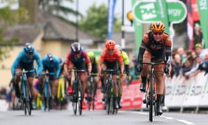 Jolien D'Hoore of Belgium (right) and her teammate Amy Pieters of the Netherlands lead the way to the finish line at Stowmarket.