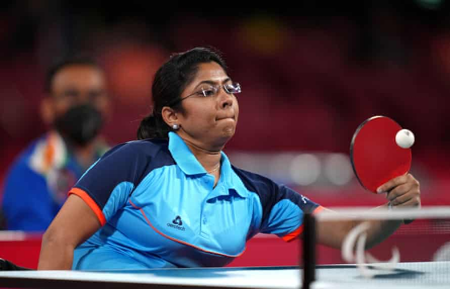 India's Bhavinaben Hasmukhbhai Patel competes in the gold medal match.