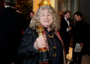 Jenny Beavan, winner for Best Costume Design for Mad Max: Fury Road, arrives at the Governors Ball following the 88th Academy Awards in Hollywood