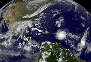 Hurricane Irma, a record Category 5 storm, churns across the Atlantic Ocean on a collision course with Puerto Rico and the Virgin Islands.
