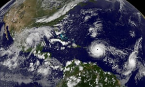 Hurricane Irma, a record category 5 storm, churns across the Atlantic Ocean on a collision course with Puerto Rico and the Virgin Islands
