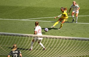Kosovare Asllani scores against England in the third-place play-off.