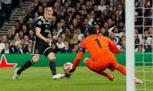 Ajax's Donny van de Beek shoots but this time his effort is saved by Tottenham Hotspur keeper Hugo Lloris.
