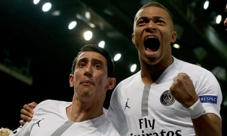 Kylian Mbappé, right, and Ángel Di María impressed for PSG at Manchester United in a team that looked balanced without the injured Neymar and Edinson Cavani.