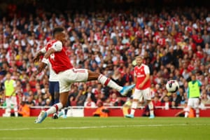 Pierre-Emerick Aubameyang scores his team's second goal.