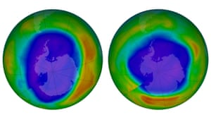 Areas of low ozone above Antarctica on September 2000, left, and September 2018.