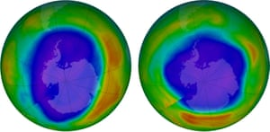 Ozone above Antarctica in 2000, left, and in 2018