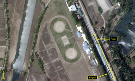 A special train possibly belonging to Kim Jong-un in a satellite image of Wonsan