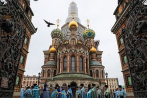 A religious procession in St Petersburg, Russia
