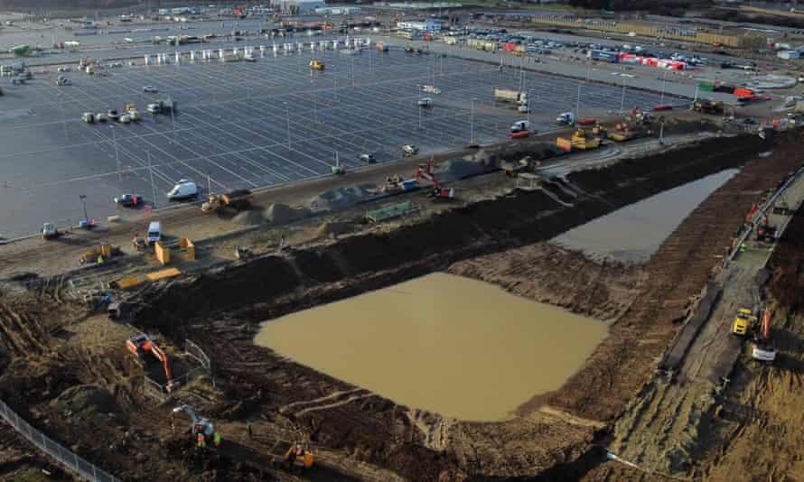 Construction work on Thursday at a lorry park near the M20 at Ashford in Kent.