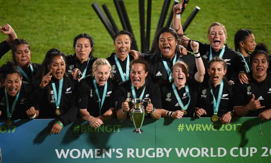 New Zealand players celebrate with the trophy following the Women's Rugby World Cup 2017 Final between England and New Zealand. The tournament planned for 2021 has been delayed a year.