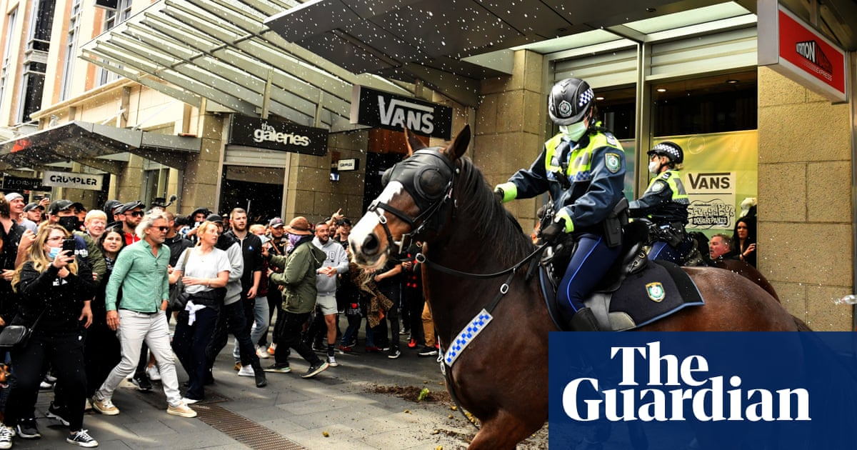 Anti-lockdown protest: two men charged with allegedly striking police horse in Sydney