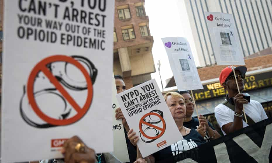 Activists in New York, during a protest denouncing the city's 'inadequate and wrongheaded response' to the opioid overdose crisis.