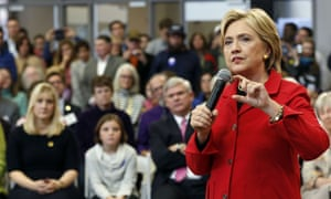 Hillary Clinton speaks during a campaign stop at the community college in Manchester, New Hampshire.