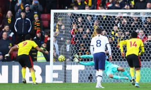 Paulo Gazzaniga of Tottenham Hotspur saves the penalty from Troy Deeney of Watford.
