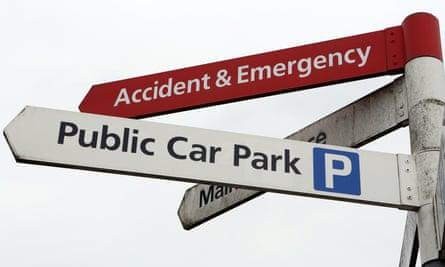 A hospital car park sign