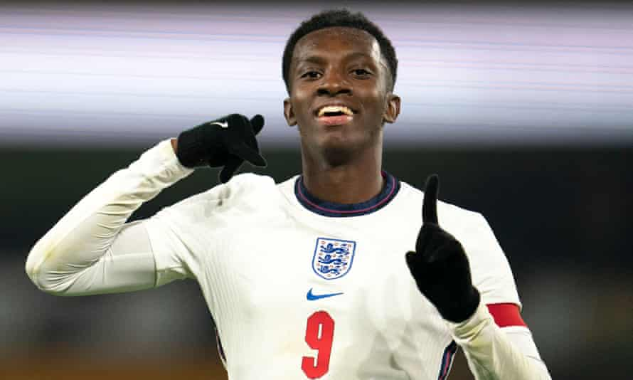 Eddie Nketiah celebrates his late winner against Turkey which took him clear of Alan Shearer and Francis Jeffers to become the record goalscorer for England Under-21s.