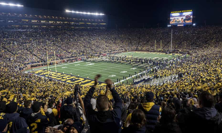 The University of Michigan attracts crowds of 100,000 to its home football games
