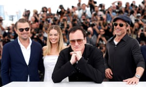 Launchpad ... Leonardo DiCaprio, Margot Robbie, Quentin Tarantino Brad Pitt pose during the photocall for Once Upon a Time in Hollywood at the Cannes film festival in 2019.