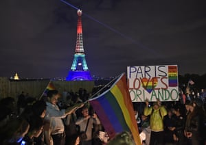 Paris, France The Eiffel Tower in Paris, France, shines in the colors of a rainbow to honor victims of Sunday's mass shooting at an Orlando gay club