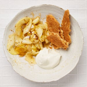Yotam Ottolenghi's ginger apples with coconut biscuits and coconut cream.
