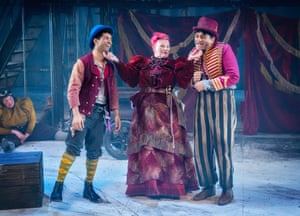 Caroline Parker as Fagin, centre, with (from left) Steph Lacey, Mitesh Soni and Nadeem Islam.