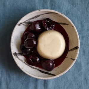Alex Jackson's panna cotta and cherries poached in pastis.