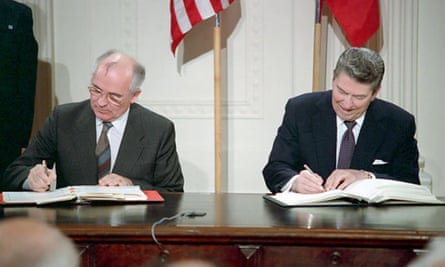 Mikhail Gorbachev and Ronald Reagan sign the INF treaty in the White House in 1987.