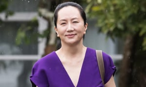 Huawei's chief financial officer, Meng Wanzhou, who is out on bail and remains under partial house arrest, leaves her home to attend a court hearing in Vancouver on Monday.