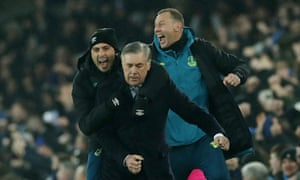 Everton's assistant manager Davide Ancelotti (left) celebrates a goal with his father Carlo and coach Duncan Ferguson (right) during the match against Burnley in December 2019.